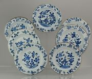 7 Antique Chinese Porcelain 18th C Kangxi Period Blue White Dinner Plates
