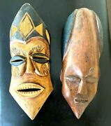 Vintage Wall Hanging Wooden Carved African Masks Set Of 2 - Free Shipping