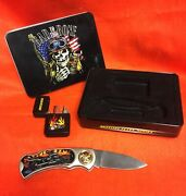 American Biker Motorcycles Series Knife And Lighter Set In Tin Box