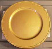 25 New 13 Round Gold Plastic Plate Chargers With Beaded Rim.