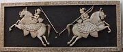 Vintage Wall Panel Marble Stone Playing Polo Hand Carved Mughal Embossed Artwork