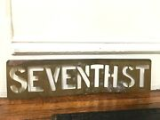 Vtg Antique Brass Street Sign Stencil 1890s Name Gas Oil Seed 7th Seventh St