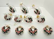 Set Of 11 Victorian Glass W/pink Roses Christmas Tree Ornaments Heart Shape ++