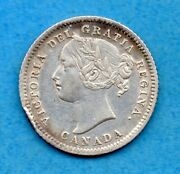 Canada 1874 H 10 Cents Ten Cent Silver Coin - Very Fine+ Cleaned