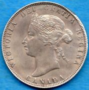 Canada 1874 H 25 Cents Twenty Five Cent Silver Coin - Ef Cleaned
