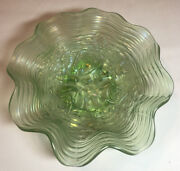 Northwood Rose Show Green Iridescent Ruffled Bowl Antique Carnival Glass