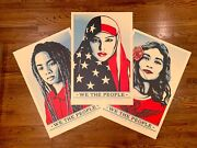 Shepard Fairey We The People Set Of 3 Art Prints 24x36 Obey Giant Un Signed