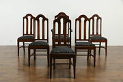 Set Of 6 Traditional Antique Mahogany Dining Chairs New Upholstery 35573