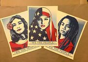 Shepard Fairey We The People Set Of 3 Art Prints 18x24 Obey Giant Un Signed