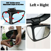 Car Right+left Side Rear View Mirror 360anddeg Wide Angle Convex Blind Spot Mirror
