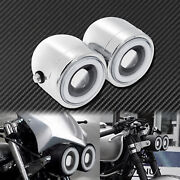 Universal Twin Headlight Double Dual Lamp Chrome Fit For Harley Xl883 Bobber