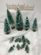 17 Pcs. Mixed Lot Of Snow Flocked Trees And Fence Train Sets Christmas Villages