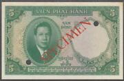 French Indochina 5 Piastres Specimen Banknote P-106s Nd 1953 Au