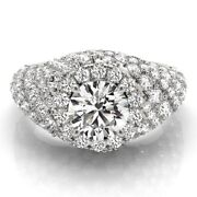 Natural Diamond Engagement Rings 14k Solid White Gold Round Cut 2.60 Ct Size 7 8