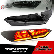 2x Smoked For 2018-2019 Toyota Camry Led Tail Lights Rear W/ Dynamic Turn Light
