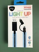 Dish Ihip Light Up Led Blue Apple Iphone Or Micro Usb Phone Charging Cable New