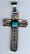 Signed Navajo Indian Silver Turquoise Stamped Arrows Cross Pendant