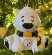 Pittsburgh Steelers Bear Christmas Holiday Tree Ornament - New - Free Shipping