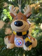 Pittsburgh Steelers Reindeer Christmas Holiday Tree Ornament Free Usa Shipping