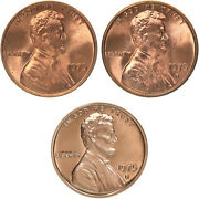 1975 P D S Lincoln Memorial Cent Year Set Proof And Bu Us 3 Coin Lot