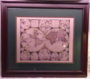 1706 Schenk Double Hemisphere Map Of World- Framed And Matted Reproduction