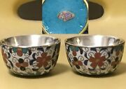 2 Antique Japanese Small Cloisonne Enameled Tea Bowls Cups Silver Lined Marked
