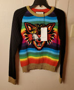 New Multicolor Angry Cat Striped Wool Pullover Sweater Size M Msrp 2500