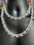 Solid 925 Sterling Silver Mens Byzantine Link Chain Iced 14mm Thick Flooded Out