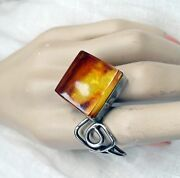 Amber Ring Genuine Baltic Amber Sterling Silver Adjustable Ring Rare Old Amber