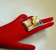 Raw Amber Silver Ring Bold Unique Royal Baltic Amber Super Heavy Rare Ring 6.5
