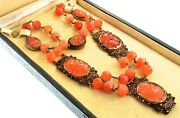 Museum Quality Antique Chinese Export Vermeil Silver Filigree Carnelian Necklace