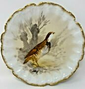 Antique Limoges J And B Bird Plate Gold Scalloped Edge Artist Signed Luc 9 1/2