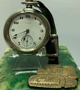 Elgin Pocket Watch 18s Swing Out Case, And Fob Chalmers Tractor