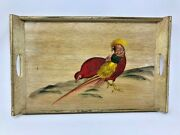 Vintage 1957 Hand Painted Japanese Red Golden Pheasant Bird Wood Tray 18.5 X 12