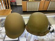 Us Military Issued Steel Pot Helmet With Liner And Chin Strap