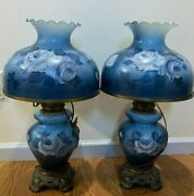 Set Of 2 Xl Table Lamps Blue Floral Ruffled Milk Glass Shade Top Metal Base