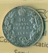 Iccs Canada 1907 - 50 Cents Coin Vf-30 Cert. No - Xqz 035