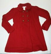 Janie And Jack Girls 4t Holiday Line Long Red Sweater Dress Coat