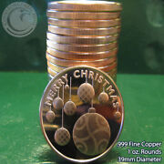20 Christmas Ornaments 1oz .999 Copper 20 Beautiful Rounds Merry Christmas
