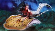 Noah Learning To Fly Hand Signed Large Giclee On Canvas Mermaid Siren
