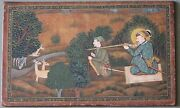 Painting Art Miniature Leather Emperor Hunting His Noble Collectible India
