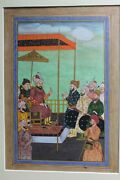 Painting Art Miniature Mughal Court Sean Fine Opaque Watercolor And Gold On Wasli