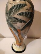 Rare Formalities By Baum Bros. Tropical Trees/ Bird/ Sea Collection Vase 11tall