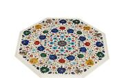 30 Marble Coffee Table Top Inlay Semi Precious Stone Floral Antique Home Decor