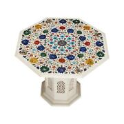 30 Marble Coffee Table Top Inlay Semi Precious Stone Floral Antique With Stand