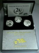 2006 American Silver Eagle 20th Ann. Coin Set Bu Proof Reverse Proof In Box Andcoa