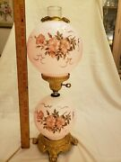 Vintage Table Lamp Hand Painted Glass Globe Three Way Electric Light