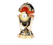 New Arrive Russian Cockerel Faberge Egg Trinket Boxes With Clock For Home Decor