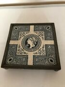 Very Rare Josiah Wedgwood Blue And White Tile On A Silver Plated Stand On 4 Feet