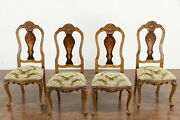 Set Of 4 Antique Carved Italian Marquetry Game Or Dining Chairs 36136